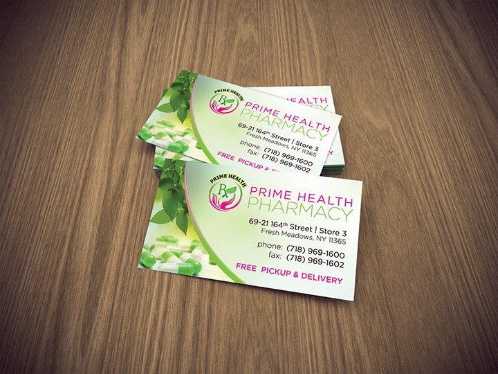 prime health pharmacy business card - Pharmacy Business Cards
